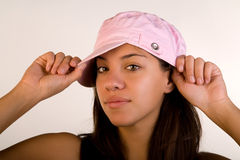 Woman in Pink Hat Royalty Free Stock Photography