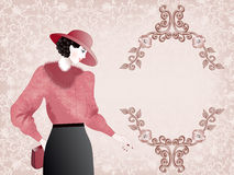 Woman  in pink hat and jacket with fur collar Stock Photos