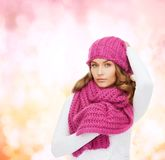 Woman in pink hat and scarf Royalty Free Stock Images