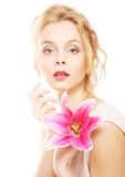 Woman with pink lily high-key portrait Royalty Free Stock Images