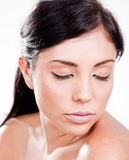 Woman with pink lips Stock Images