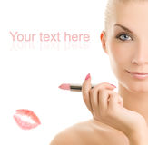 Woman with pink lipstick Royalty Free Stock Photos