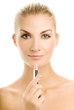 Woman with pink lipstick Royalty Free Stock Photography