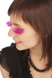 Woman with pink  long feather false eyelashes Stock Photography