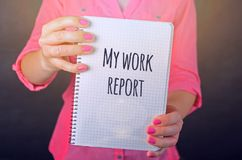 Woman in Pink Long-sleeved Shirt Holding White Book With My Work Report Text Print Stock Photography