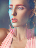 Woman with pink make up looking away Royalty Free Stock Photos