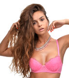 Woman in pink modern underwear bra and fashion necklace jewelry Stock Image