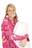 Woman pink pajamas pillow smile Stock Images