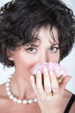 Woman with pink peony flower Royalty Free Stock Photography