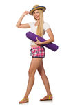 The woman in pink plaid shorts holding rug isolated on white. Woman in pink plaid shorts holding rug isolated on white Stock Photos