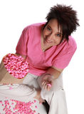 Woman with pink popcorn Royalty Free Stock Image