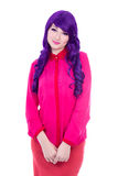 Woman in pink with purple hair isolated on white Royalty Free Stock Photos