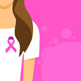 Woman Pink Ribbon Breast Cancer Awareness Female Stock Photo