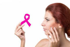 Woman  with pink ribbon Stock Image