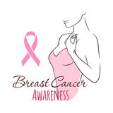 Woman with pink ribbon, vector illustration health, medicine, beauty concept. October - Breast Cancer Awareness Month Stock Image