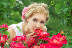 Woman in pink rose garden smelling Stock Photography