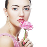 Woman with pink rose Royalty Free Stock Images