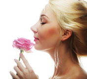 Woman with pink rose Stock Photos