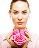 Woman with pink roses. Isolted on white Stock Images