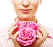 Woman with pink roses. Isolted on white Stock Photography