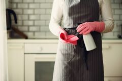 Woman in pink rubber protective gloves wiping dust and dirty. Cleaning concept, banner, copy space.  Royalty Free Stock Photo