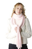 Woman in pink scarf Royalty Free Stock Image