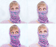 Woman in pink scarf Royalty Free Stock Images