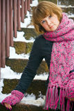 Woman With Pink Scarf And Gloves Royalty Free Stock Photography