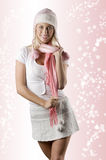 Woman with pink scarf on white Royalty Free Stock Image