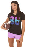 Woman pink shorts football hold one hand Royalty Free Stock Photography