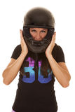 Woman pink shorts helmet on head hold Stock Photos