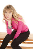 Woman pink sit lean look Stock Photos