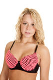 Woman pink spike bra Royalty Free Stock Photography