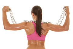 Woman pink sports bra chain back flex Royalty Free Stock Photos