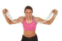 Woman pink sports bra chain scream Stock Photography