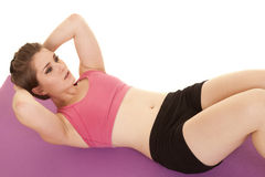 Woman pink sports bra crunch top view Royalty Free Stock Image