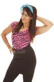 Woman pink stripe blue ribbon pose Royalty Free Stock Photo