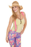 Woman pink suspenders hat pose Royalty Free Stock Images