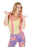 Woman pink suspenders hold up Stock Image