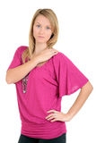 Woman with pink top hand on shoulder Royalty Free Stock Photos