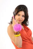 Woman with  pink toy Royalty Free Stock Photography
