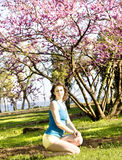Woman with pink tree Royalty Free Stock Photography