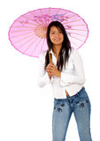 Woman with a pink umbrella Stock Image