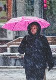 Woman with pink umbrella in snow Royalty Free Stock Image