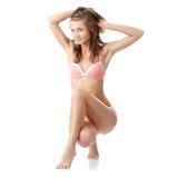 Woman in pink underwear Stock Photos