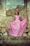 Woman in pink wedding dress Royalty Free Stock Photos
