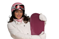 Woman in pink and white winter fashion Stock Images