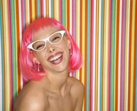 Woman in pink wig. Royalty Free Stock Photos