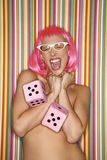 Woman in pink wig. Stock Photography