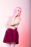 Woman with pink wig creative visage Royalty Free Stock Photography